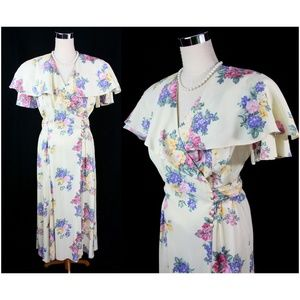 VTG Liz Robert Floral Shawl Collar Maxi Dress